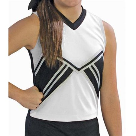 Pizzazz UT60 -WHTBLK-YM UT60 Youth Spirit Uniform Shell, White with Black - Medium - image 1 of 1