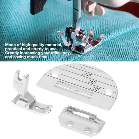 OTVIAP Sewing Needle Plate, Needle Plate,3PCS Industrial Sewing Machine Accessories Needle Plate Presser Foot Kit Set Features:Made of high quality material, durable and no deformation, corrosion resistant.These practical parts have smooth surface, no scratches, greatly increase your efficiency.In quilting work, you may find it difficult to get seams to line up perfectly without this foot.Create many professional sewing craft and saves much time.One set includes 3 pieces of sewing machine accessories, very functional for all your sewing needs.Specification:Material: MetalWeight: 54g/1.9ozQuantity: 3pcsNeedle Plate Size: 6.5*4.5cm/2.6*1.8inch (as pictures shown)Package List:1 x E20 Needle Plate1 x Presser Foot with Teeth1 x 351 Presser FootNote:1. Please allow slight error due to manual measurement. Thanks for your understanding.2. Monitors are not calibrated same, item color displayed in photos may be showing slightly different from the real object. Please take the real one as standard.
