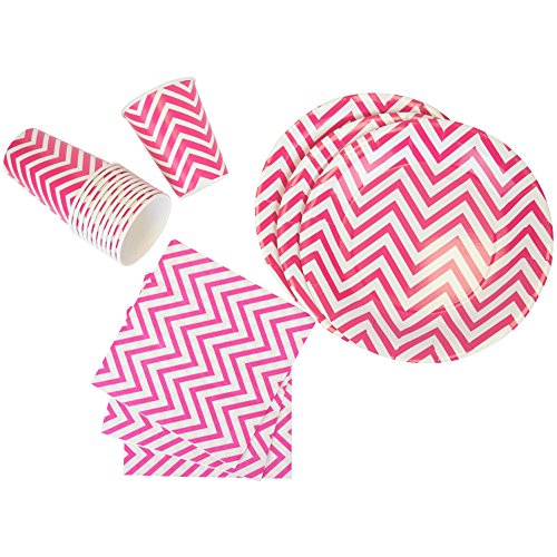 Just Artifacts Disposable Party Tableware 44pcs Chevron Pattern Dining Set (Square Plates, Cups, Napkins) - Color: Fuchsia - Decorative Tableware for Parties, Baby Showers, and Life Celebrations!