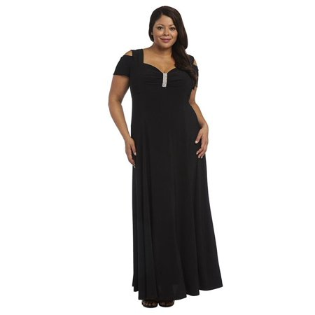 R&M Richards Long Dress Plus Size Black Formal Stretchy