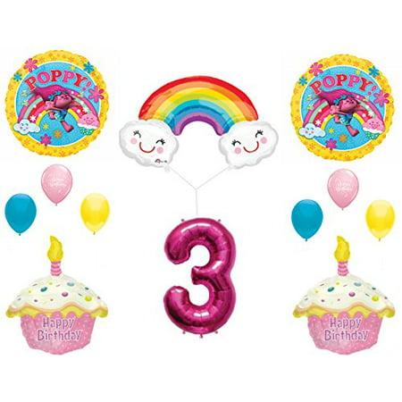 POPPY TROLLS RAINBOW 3rd Happy Birthday Party Balloons Decoration Supplies Movie