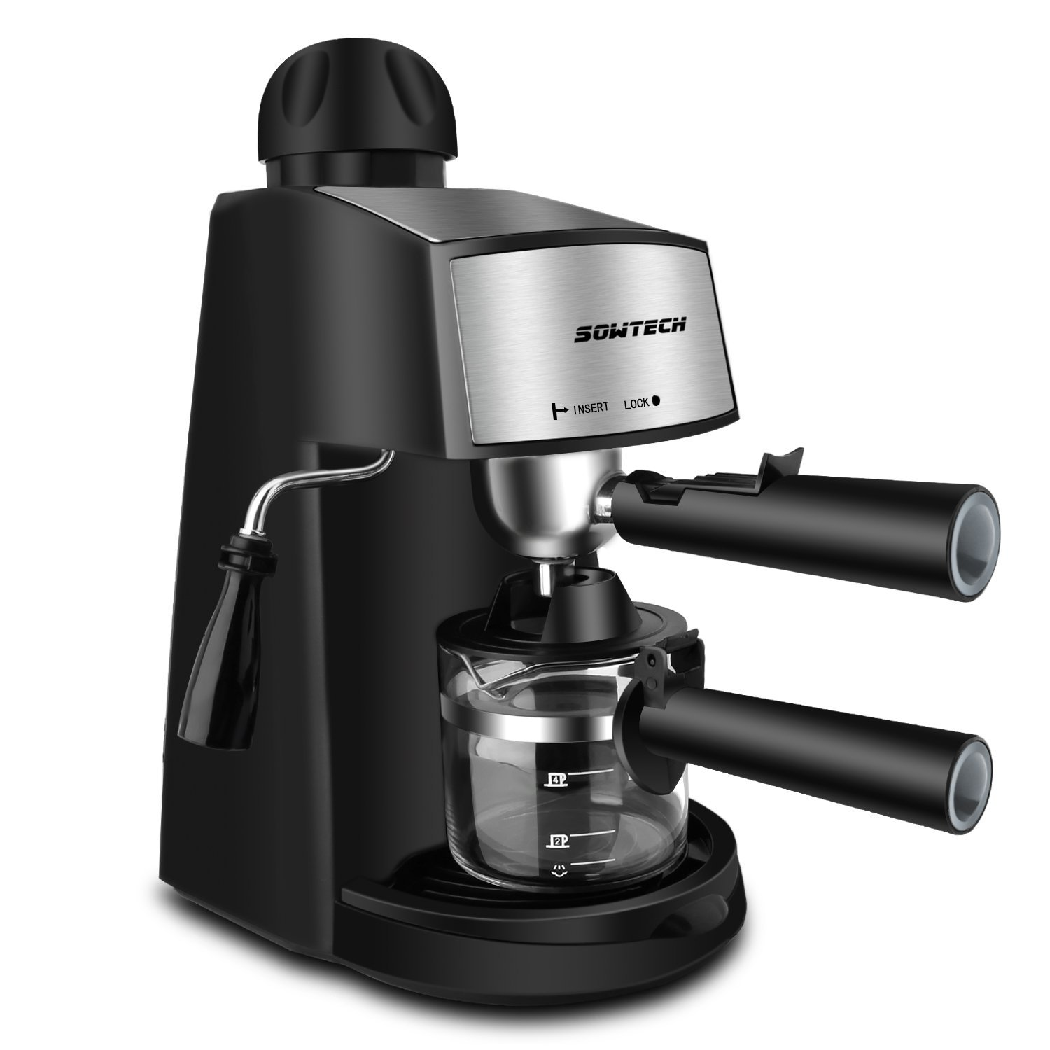 SOWTECH 3.5 Bar Steam Espresso Machine with 800W Coffee Maker for 2Oz Mocha Latte and Cappuccino - Black
