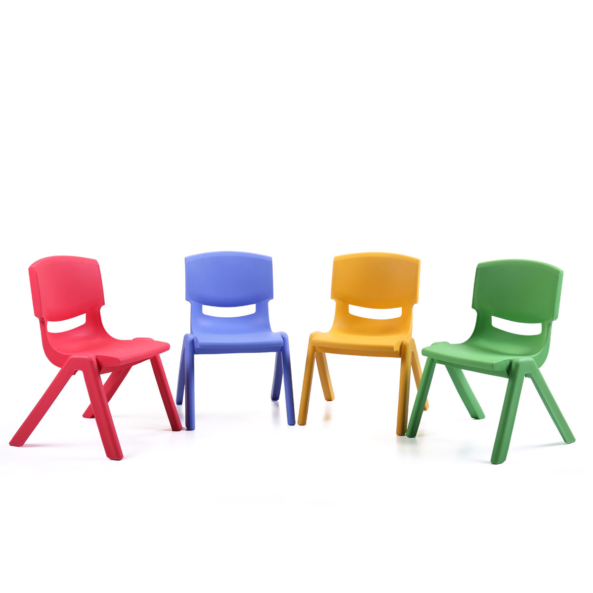 4 Pack Multicolored Kid Plastic Stacking Chair Solid Kids Play Furniture