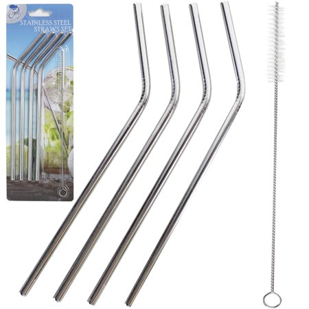 Stainless Steel Straws Set of 4, Free Cleaning Brush Included Strongest Metal Reusable Eco Friendly Drinking Straws by Chuzy (Strongest Glasses)