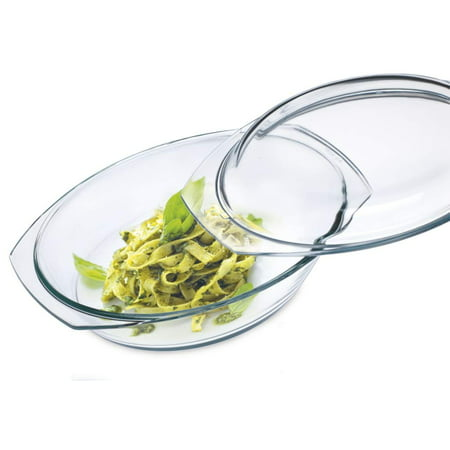 Simax Clear Oval Shaped Glass Casserole | With Tight Fitting Lid – Heat, Cold and Shock Proof – Made in Europe – Oven, Freezer and Dishwasher Safe – 2.5 Quart ( Plus 1.2 Quart Lid) Glass Baking Dish