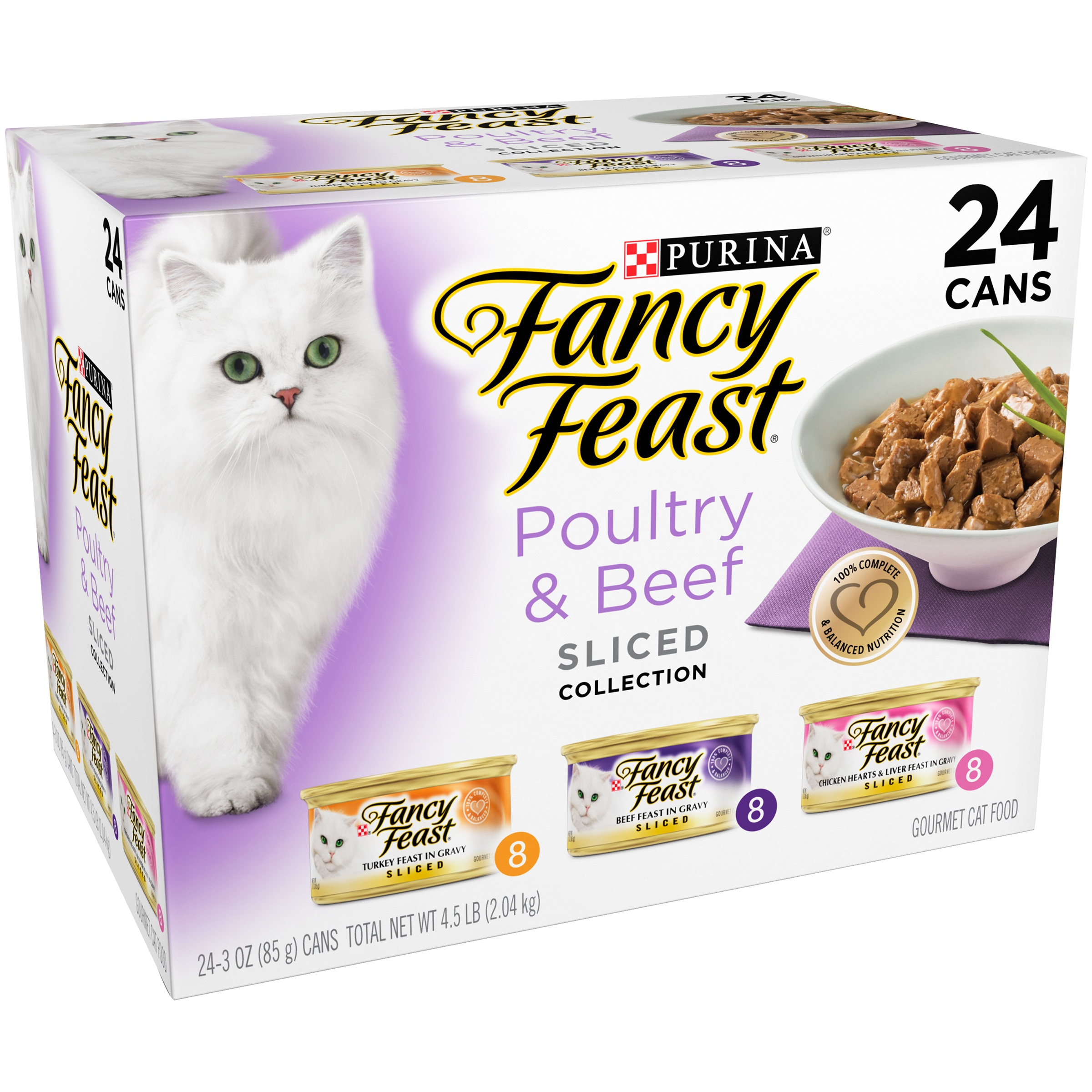 Purina Fancy Feast Sliced Poultry & Beef Collection Wet Cat Food- (24) 3-oz. Cans