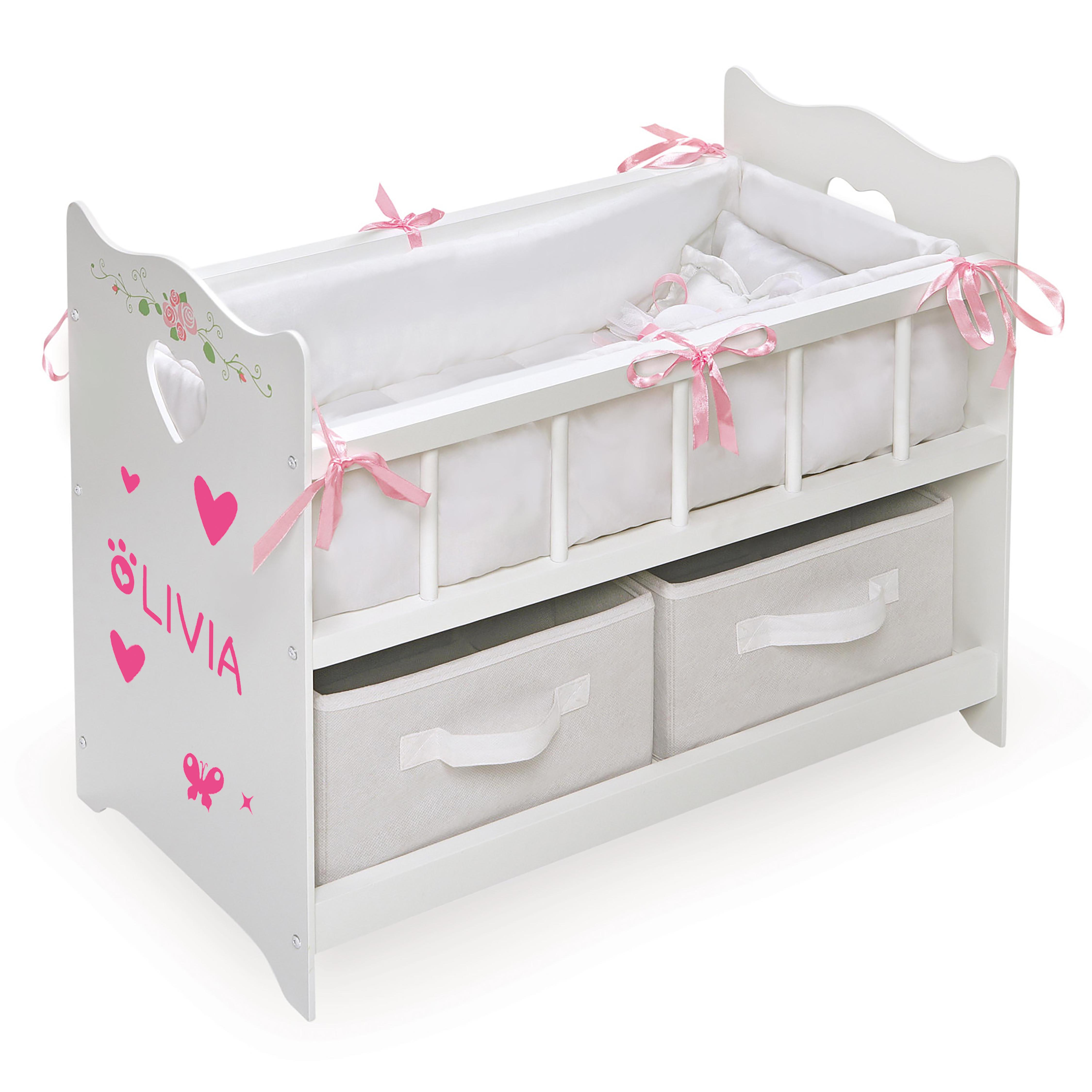 Painted White Handmade Crib for 18 inch American Girl and Bitty Baby Dolls