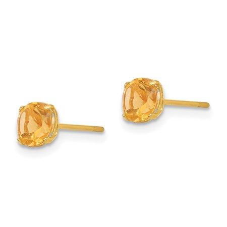 14K Yellow Gold Madi K Round Citrine 5mm Post Earrings - image 1 de 2