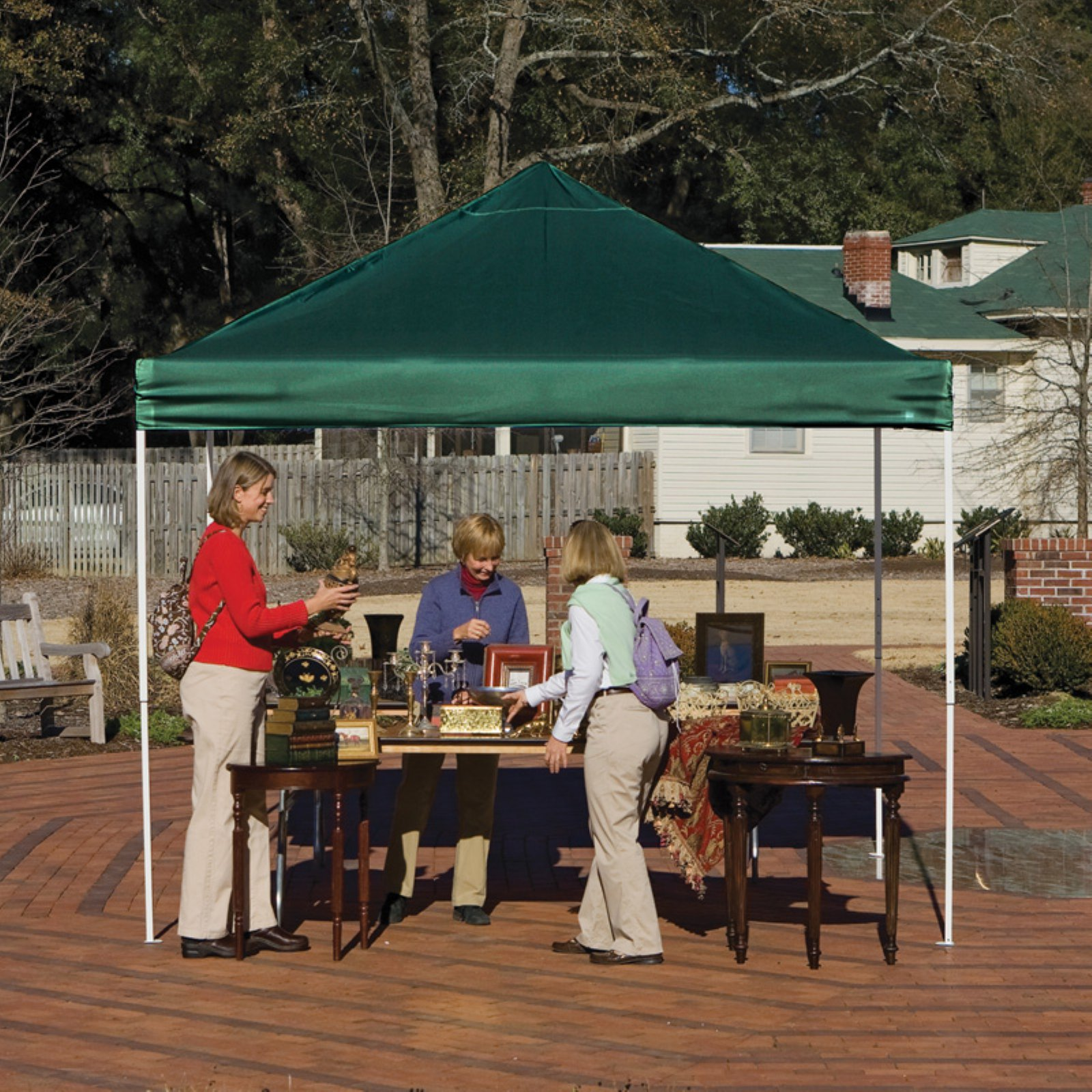 10' x 10' Pro Pop-up Canopy Straight Leg, Green Cover
