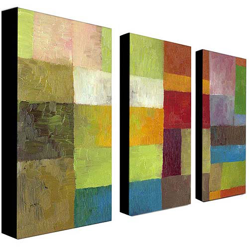 "Trademark Fine Art ""Abstract Color Panels IV"" Canvas Art by Michelle Calkins, 3-Piece Panel Set, 16x32"