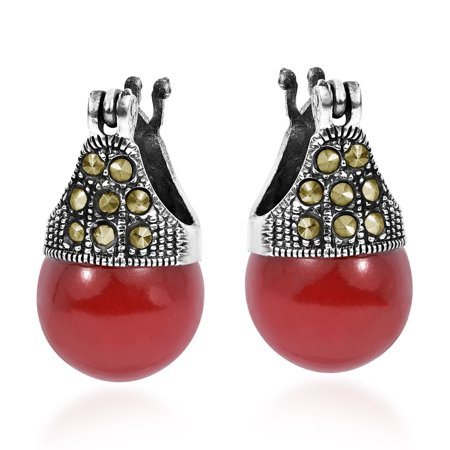 Vintage Flair Marcasite Style Pyrite and Reconstructed Red Coral .925 Sterling Silver 12mm Earrings