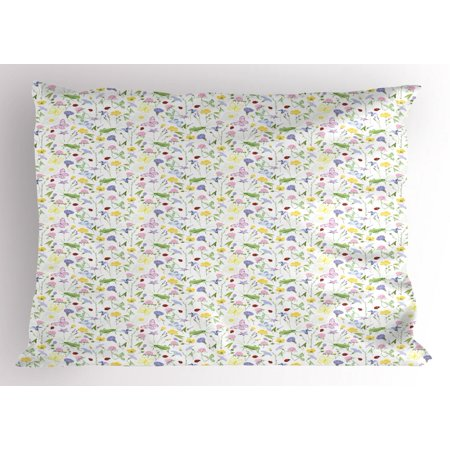 - Ladybug Pillow Sham, Butterfly Soft Toned Blossom Flora Daisy Aster Bluebell Chamomile Clover Petals, Decorative Standard Queen Size Printed Pillowcase, 30 X 20 Inches, Multicolor, by Ambesonne