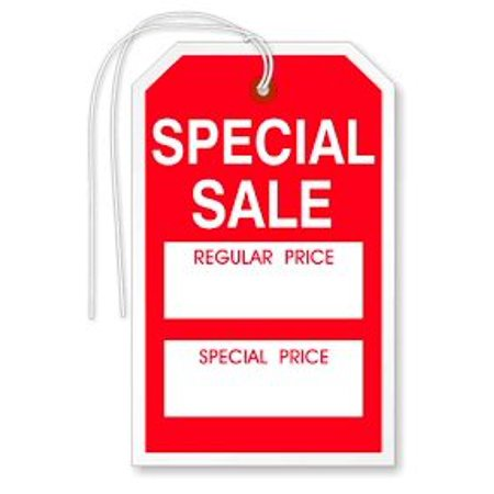 Special Sale/Reg Price Tags, White Stock, Red Ink, with String, 2  x 3.375 , 1000 Tags / Pack Special Sale/Reg Price Tags, White Stock, Red Ink, with String, 2  x 3.375 , 1000 Tags / Pack
