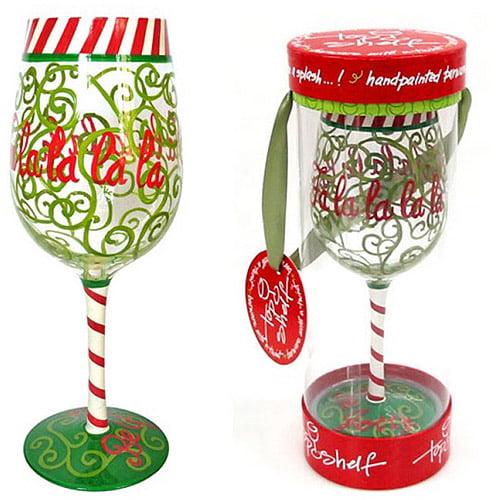Top Shelf Fa La La La La Wine Glass