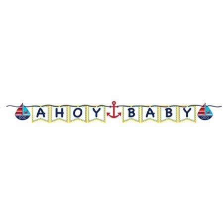 Ahoy Matey Baby Shower Shaped Ribbon Banner - Ahoy Its A Boy Baby Shower Theme