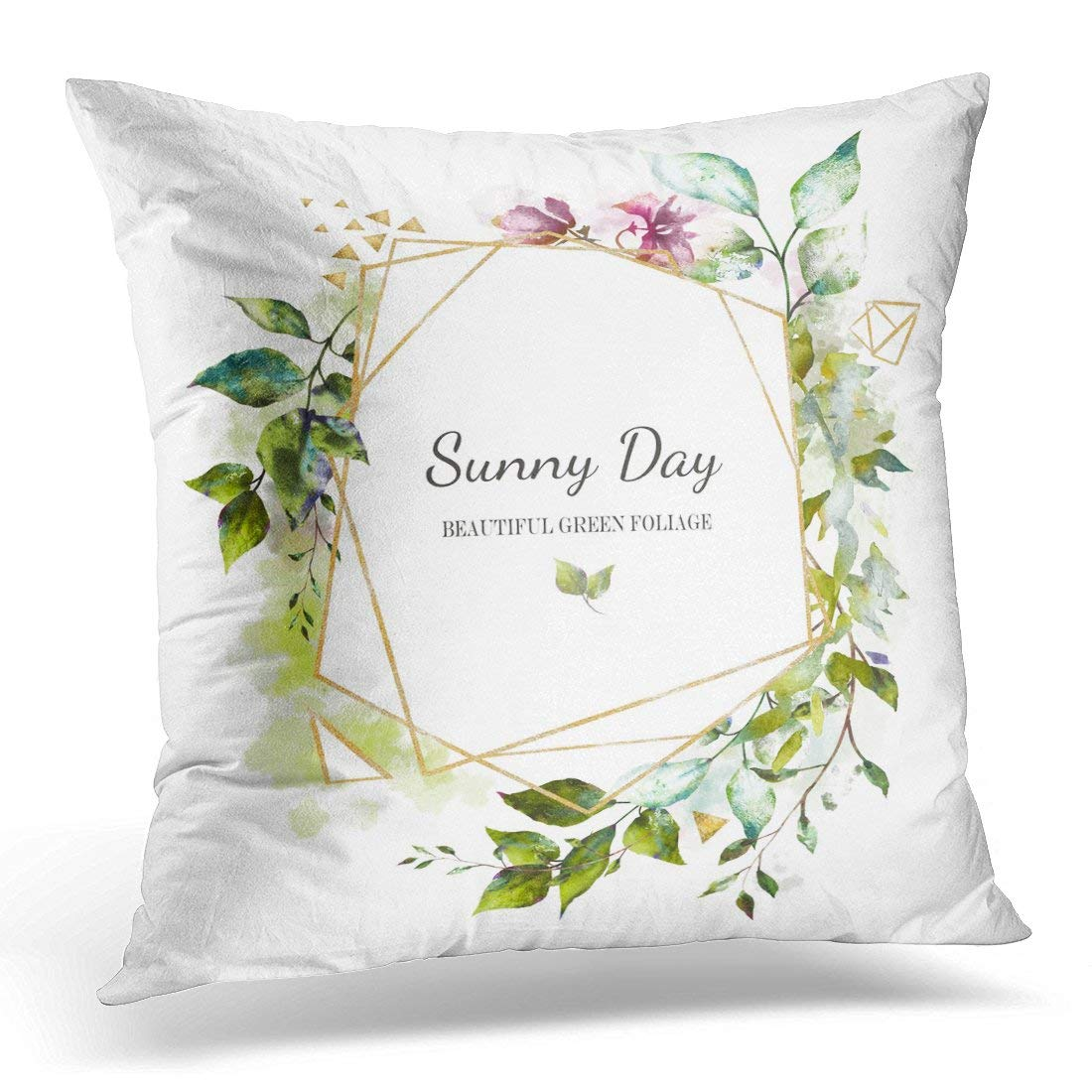 USART White Floral Watercolor Design with Leaves Wild Flowers with Botanic for Text Geometrical Gold Pillow Case Pillow Cover 20x20 inch