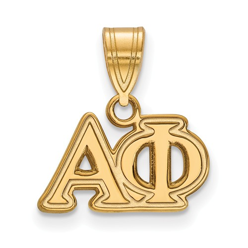 Sterling Silver w/ 14K Yellow Gold-Plated LogoArt Official Licensed Greek Sororities Alpha Phi (??) Medium Pendant