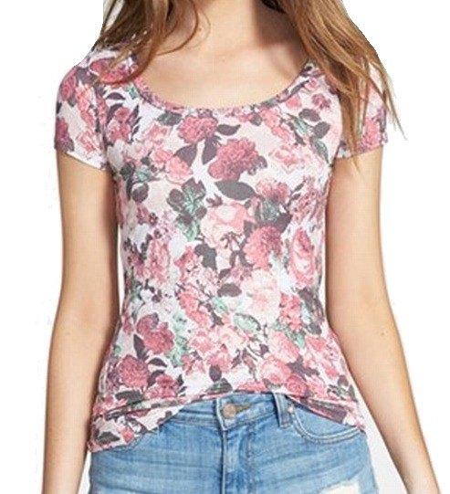 Frenchi NEW Pink Womens Size Small S Floral Print Graphic Tee T-Shirt