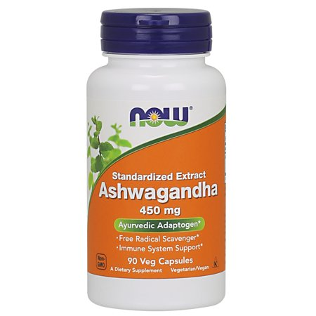 NOW Supplements, Ashwagandha (Withania somnifera)450 mg (Standardized Extract), 90 Veg Capsules (Chamomile Standardized Extract)