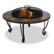 Wood Burning Fire Pit With Slate Ledge And Copper Accents