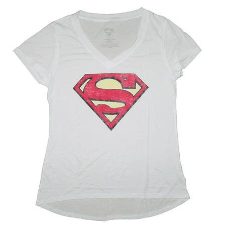 DC Comics Women's Superman Symbol V-Neck Shirts (Large) W49