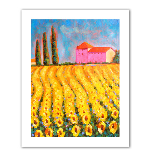 ArtWall Cyress and Sunflowers at Vall De Lot' by Susi Franco Painting Print on Rolled Canvas