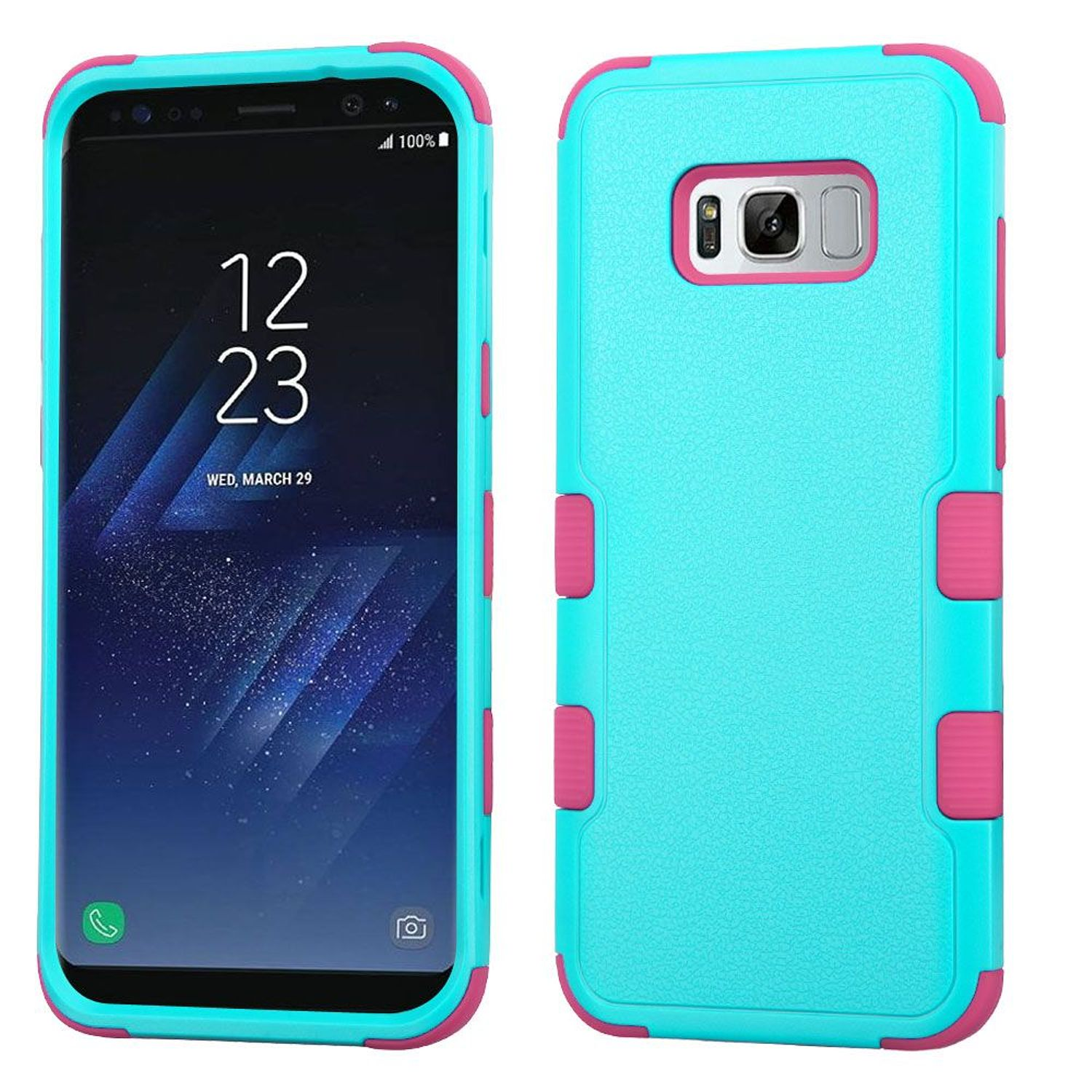 Insten Tuff Dual Layer [Shock Absorbing] Hybrid Rubberized Hard Plastic/Soft Silicone Case Cover For Samsung Galaxy S8 Plus S8+, Teal/Pink