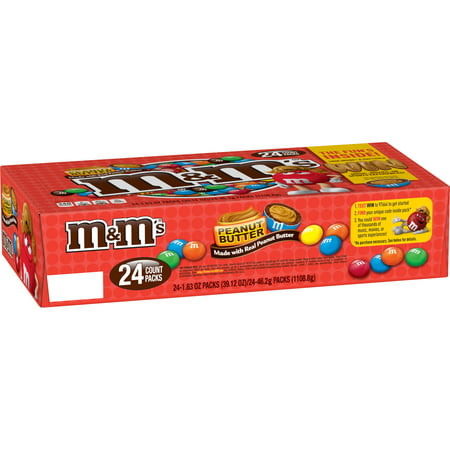 M&M'S Peanut Butter Chocolate Candy Singles Size 1.63 Ounce Pouch, 24 Count