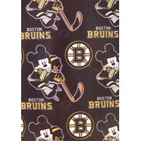 """NHL Officially Licensed Boston Bruins 50"""" X 60"""" Mickey Mouse Character Fleece Throw"""
