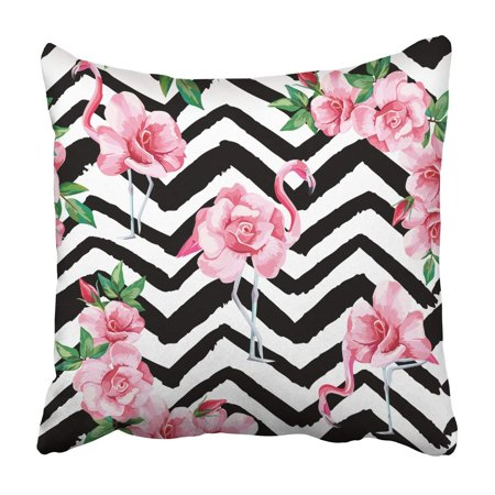 BPBOP beautiful tropic pink flamingo and rose flowers Pillowcase Throw Pillow Cover Case 16x16 inches
