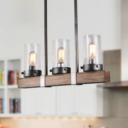 LNC Wood 3 Lights Chandelier for Kitchen Island ,Dining Room ,Living Room, 3-Light Linear Chandeliers Wood Kitchen Island Lighting, 3 Light Kitchen Island Pendant 3 Light Linear Pendant
