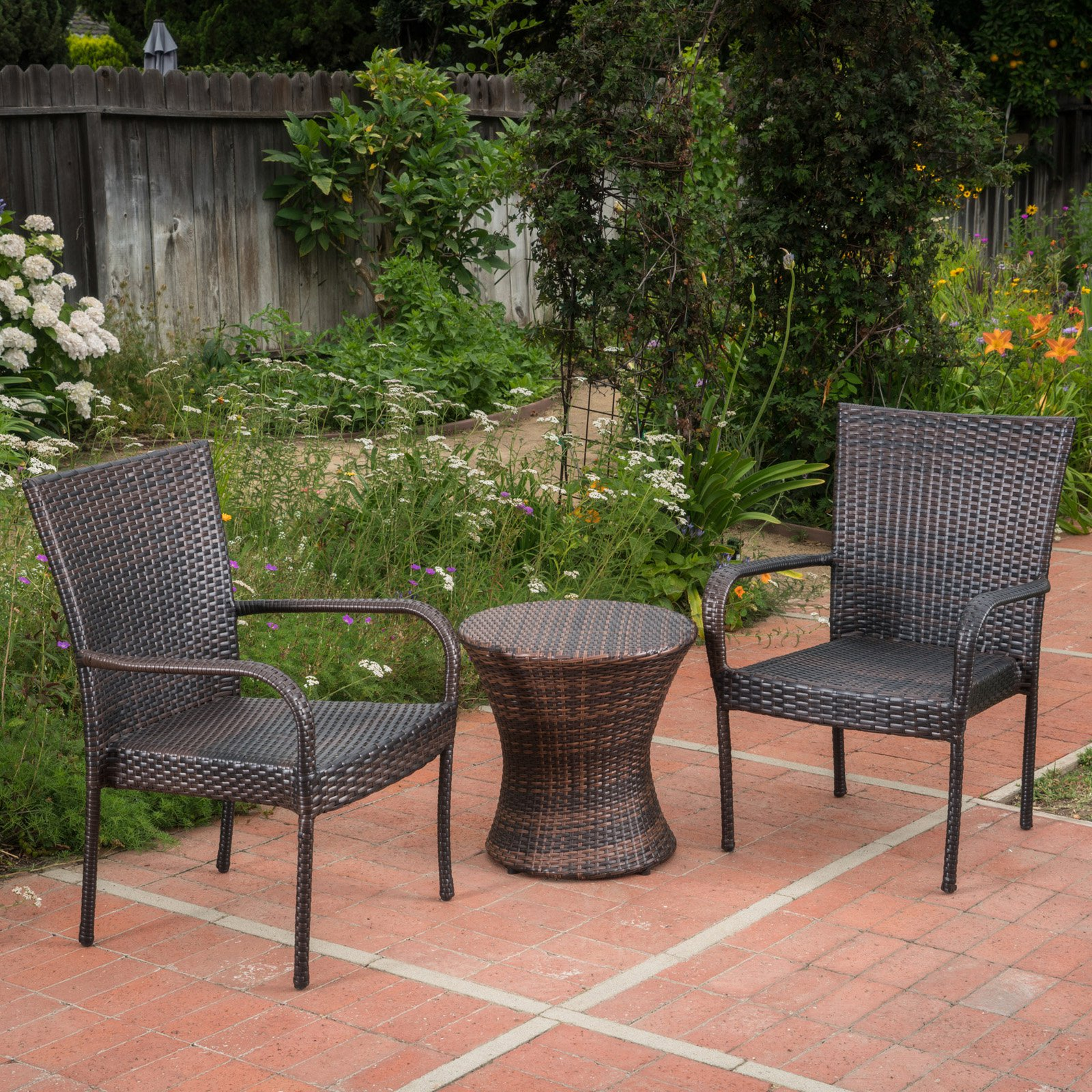 Polk Grey Wicker 3 Piece Outdoor Stacking Chair Chat Set