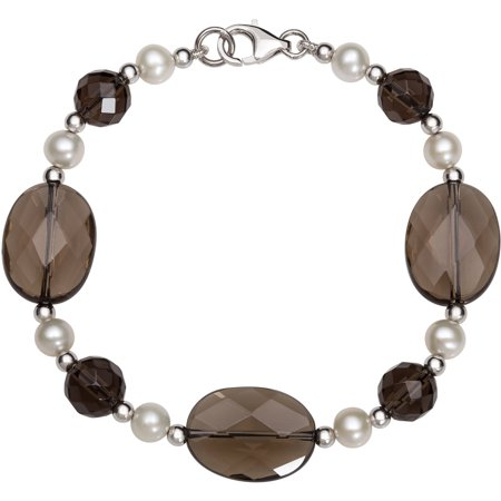 """Cultured Freshwater Pearl and Smokey Quartz Sterling Silver Link Chain Bracelet, 7.5"""""""