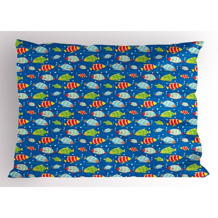 Colorful Sea Bubbles (Boy's Pillow Sham Colorful Striped Cartoon Fishes Swimming in the Sea with Bubbles Aquatic Life Theme, Decorative Standard Size Printed Pillowcase, 26 X 20 Inches, Multicolor, by)
