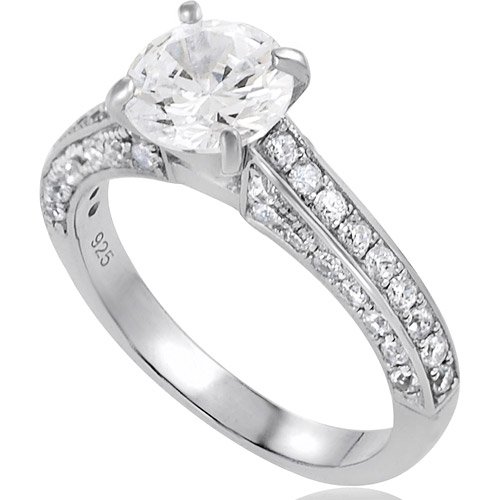 Alexandria Collection Sterling Silver Round-Cut Cubic Zirconia Engagement Ring