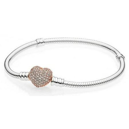 Pandora Moments Women's Sterling Silver Snake Chain Charm Bracelet with Pave Heart Clasp