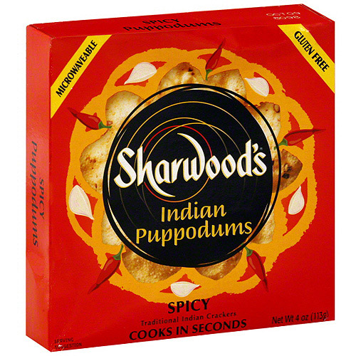Sharwood's Puppodums Spicy Indian Crackers, 4 oz (Pack of 12)