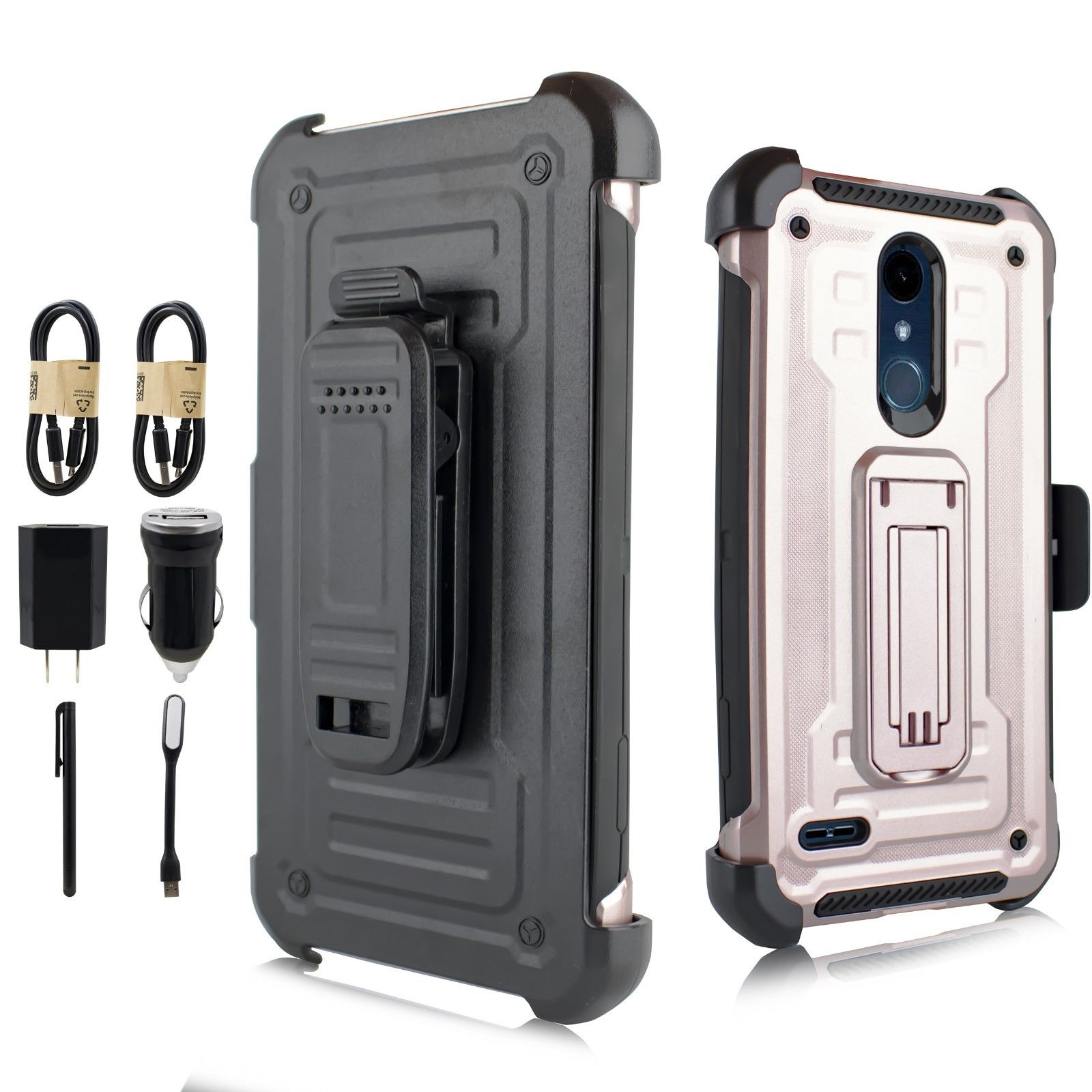 "~Value Pack~ for 5.3"" LG K10 2018 Case Phone Case Belt Clip Holster T3 Double Kickstands Hybrid Shock Armor Bumper Cover blue"