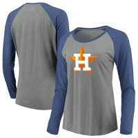 Women's Majestic Heathered Gray/Navy Houston Astros Must Win Tri-Blend Raglan Long Sleeve T-Shirt