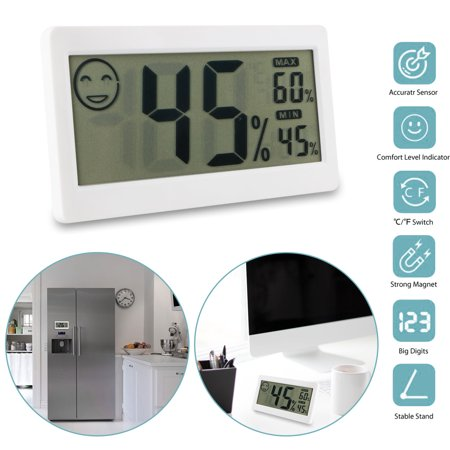 TSV Digital Magnet LCD Indoor Thermometer Hygrometer Temperature Room Humidity
