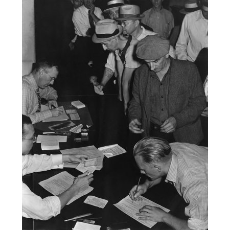 Unemployed Men Filling Out Social Security Benefit Claims History