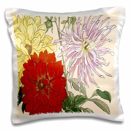 3dRose Beautiful Large Dahlias in Red, Pink and Light Yellow - Pillow Case, 16 by 16-inch