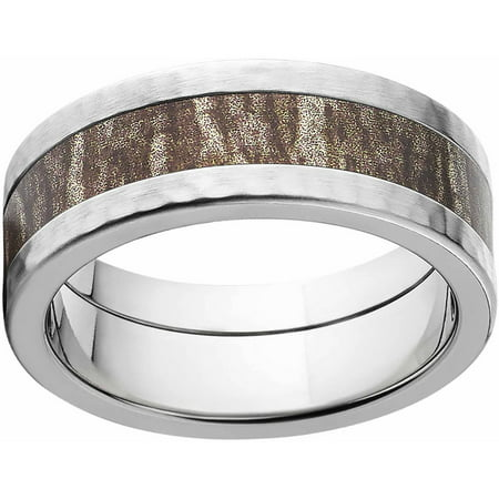 Comfort Fit Hammer (Bottomland Men's Camo 8mm Stainless Steel Band with Hammered Edges and Deluxe Comfort Fit)