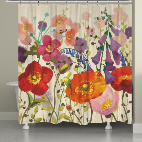 Laural Home Pink Meadow Shower Curtain (71-inch x 74-inch)