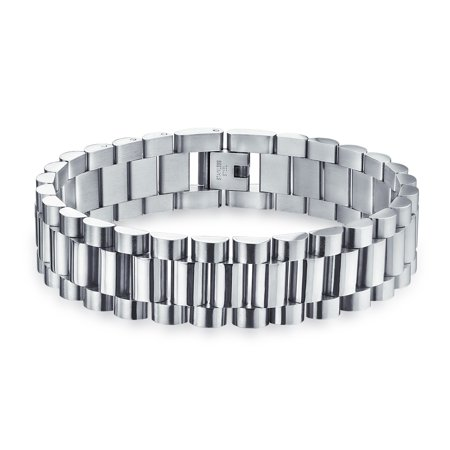 Plain Mens Watch Band Panther Link Bracelet For Men For Teen Shiny Silver Tone Stainless Steel