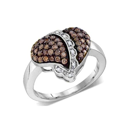 Size 5 - 10k White Gold Round Chocolate Brown Diamond Heart Love Ring 5/8 Cttw