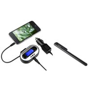 Insten NEW CAR Radio FM Transmitter 3.5mm Port Universal For MP3 MP4 Player Cell phone Apple iPad Mini Air iPod Nano Touch + Free Stylus (2-in-1 Accessory Bundle)