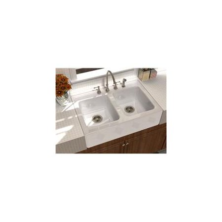 Song S 8840 3 70 Double Bowl Farmhouse Sink In White With Faucet Holes