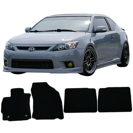 Fits 11-13 Scion TC Floor Mats Carpet Front & Rear Black 4PC - Nylon Black Rear Floor Mat