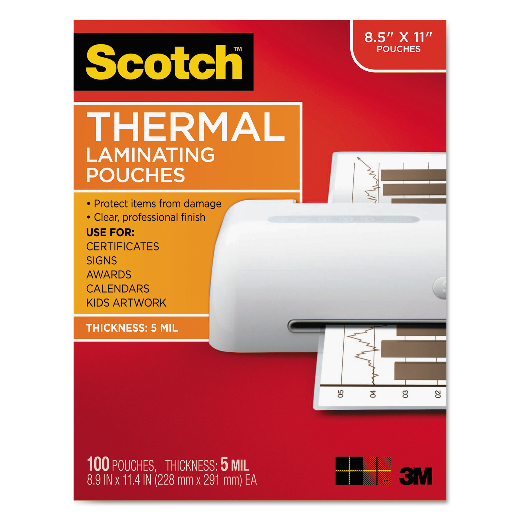 Scotch Premium Thermal Laminating Pouches 100 Count, Letter Size Sheets